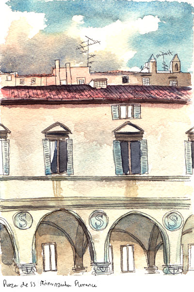 Watercolour of a piaza in Florence.