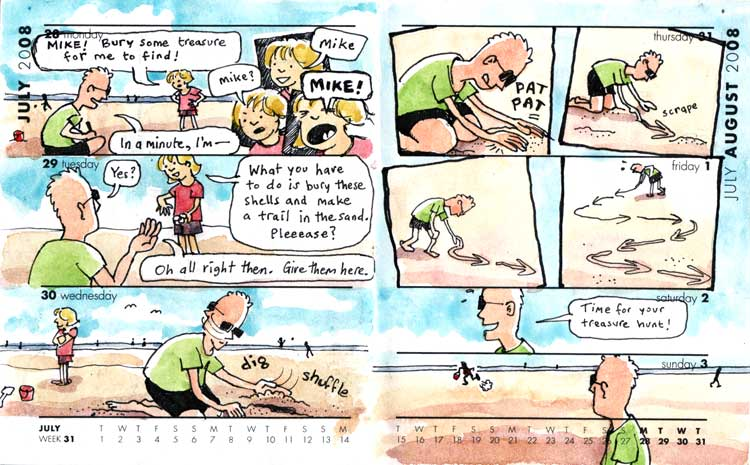 Cartoon: treasure hunt on the beach