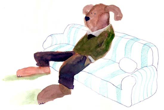 Painting dog on sofa.