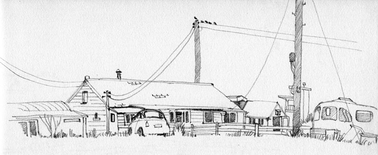 Pencil sketch of a house at Dungeness
