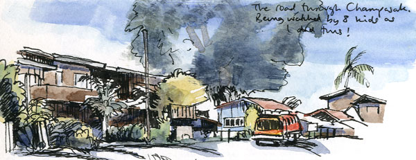 Travel sketchbook diary, London-Singapore by train: road in Champasak