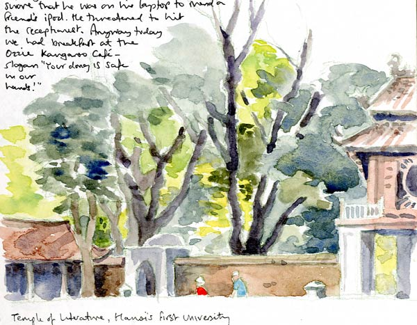 Travel sketchbook diary, London-Singapore by train: Hanoi temple of literature