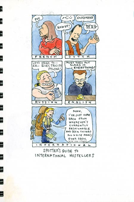 Travel sketchbook diary, London-Singapore by train: cartoon of international hostellers