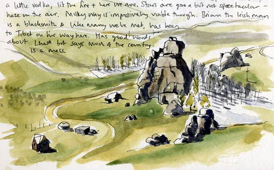 Travel sketchbook diary, London-Singapore by train: Mongolian national park