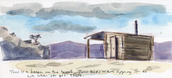 Travel sketchbook diary, London-Singapore by train: Russia: Olkhon Island, banya on the beach