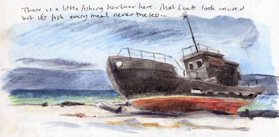 Travel sketchbook diary, London-Singapore by train: Russia: Olkhon Island, fishing boat