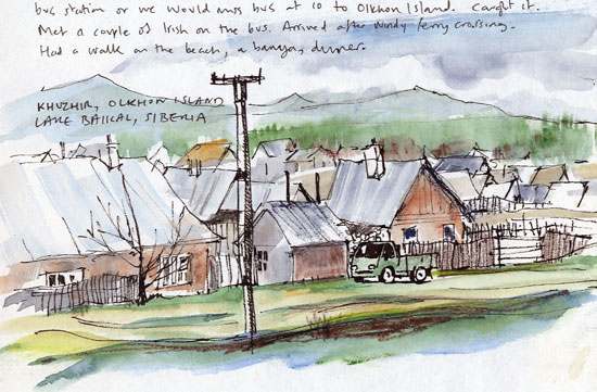 Travel sketchbook diary, London-Singapore by train: Russia: Olkhon Island, Khuzhir