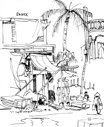 Travel sketchbook diary, London-Singapore by train: Pakse building