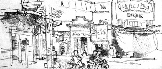 Travel sketchbook diary, London-Singapore by train: Hanoi street view