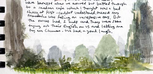 Travel sketchbook diary, London-Singapore by train: Yangshuo mountains