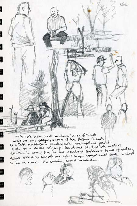 Travel sketchbook diary, London-Singapore by train: Russia: Taiga forest