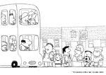 Hundred decker bus colouring in sheet